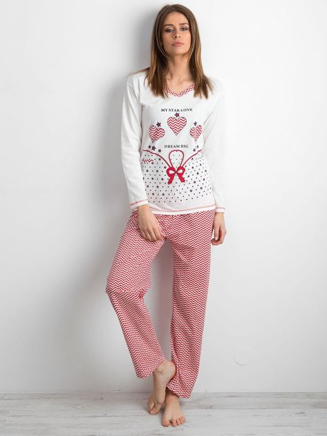 Biało-czerwona piżama damska z nadrukiem                              zdj.                              1