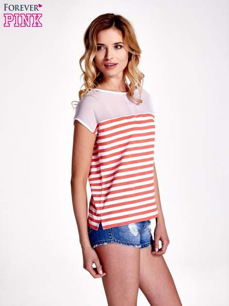Biało-czerwony t-shirt z tiulowym wykończeniem                                  zdj.                                  3