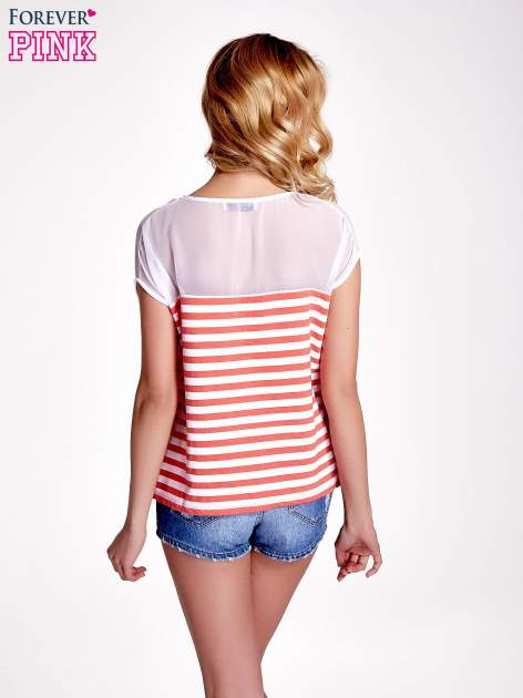 Biało-czerwony t-shirt z tiulowym wykończeniem                                  zdj.                                  4