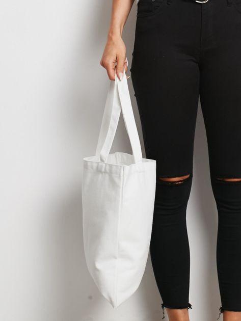 Biało-granatowa torba materiałowa                              zdj.                              2