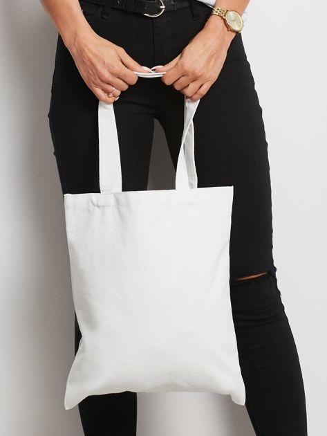 Biało-granatowa torba materiałowa                              zdj.                              3