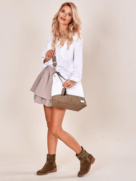 Biało-khaki torba miejska z eko skóry                              zdj.                              1