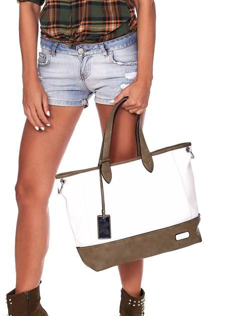 Biało-khaki torba shopper z eko skóry z odpinanym paskiem                              zdj.                              1