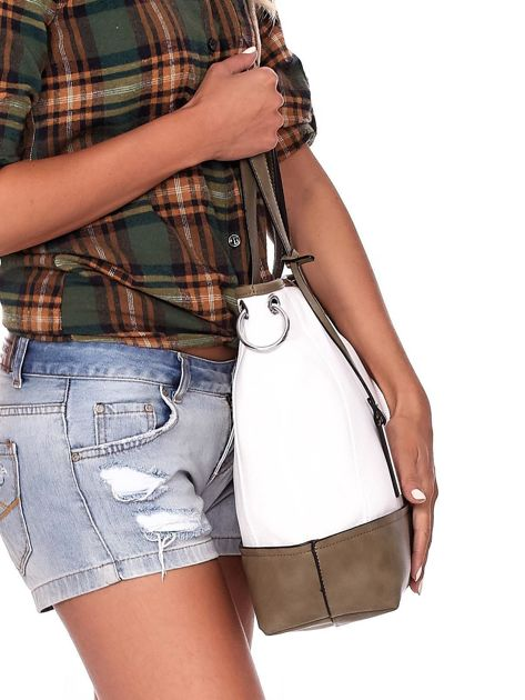 Biało-khaki torba shopper z eko skóry z odpinanym paskiem                              zdj.                              3