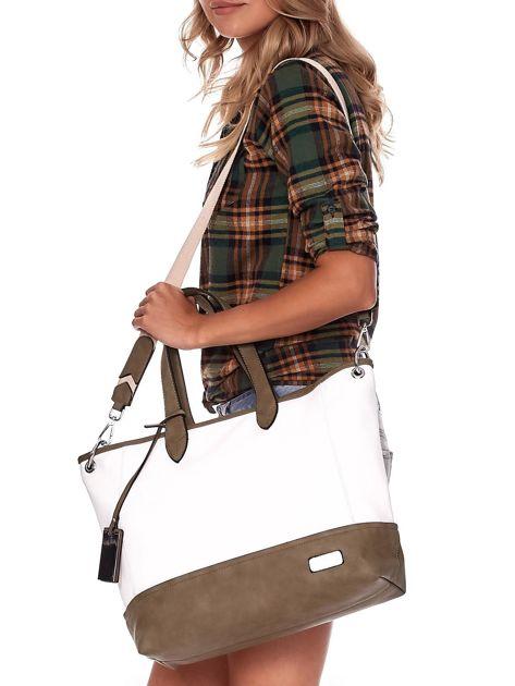 Biało-khaki torba shopper z eko skóry z odpinanym paskiem                              zdj.                              6