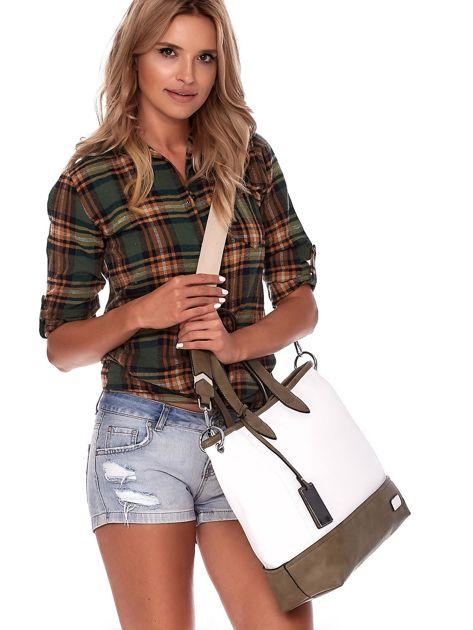 Biało-khaki torba shopper z eko skóry z odpinanym paskiem                              zdj.                              7