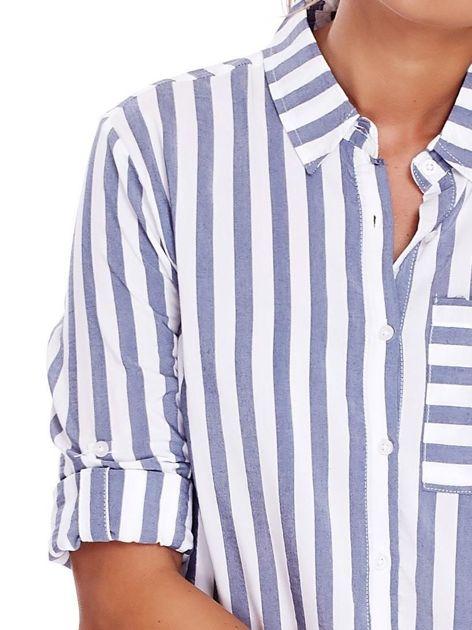 Biało-niebieska koszula w paski                              zdj.                              5