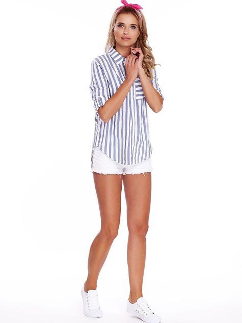 Biało-niebieska koszula w paski                              zdj.                              4