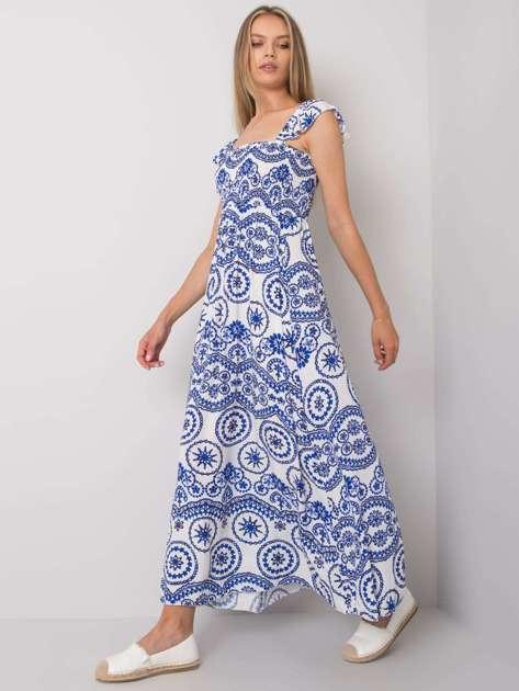 Biało-niebieska sukienka maxi Tayla