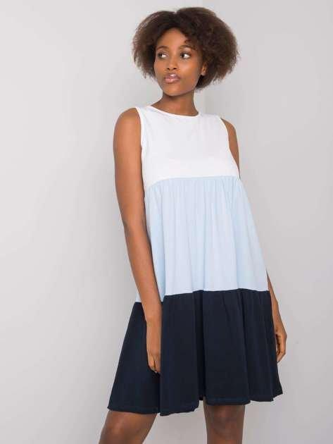 Biało-niebieska sukienka z bawełny Sheyla RUE PARIS
