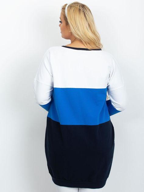 Biało-niebieska tunika plus size Bease                              zdj.                              2