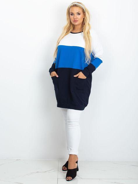Biało-niebieska tunika plus size Bease                              zdj.                              4