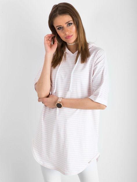 Biało-różowa bluzka w paski                               zdj.                              1