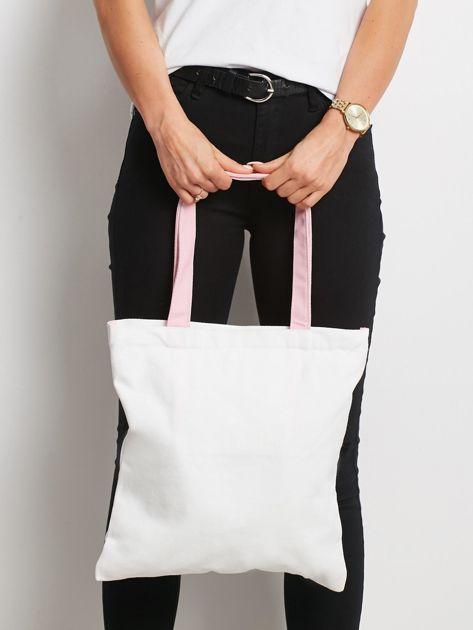 Biało-różowa torba materiałowa                              zdj.                              3