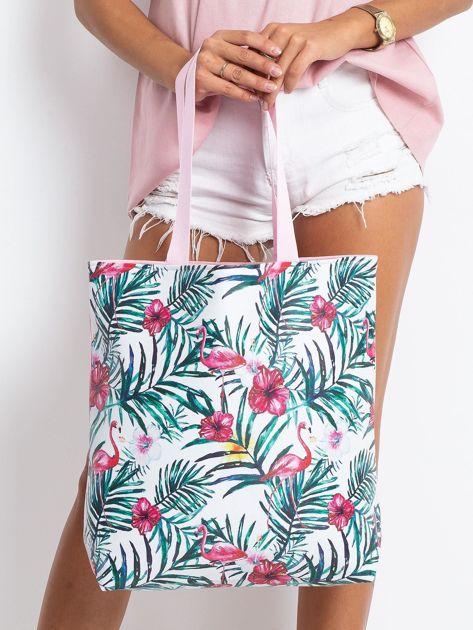 Biało-różowa torba z nadrukiem                              zdj.                              1