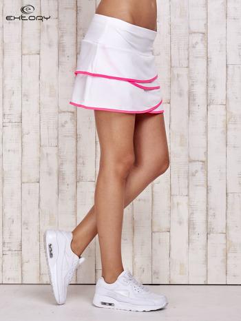 Biało-różowe spodenki spódniczka tenisowa z falbankami                                  zdj.                                  3