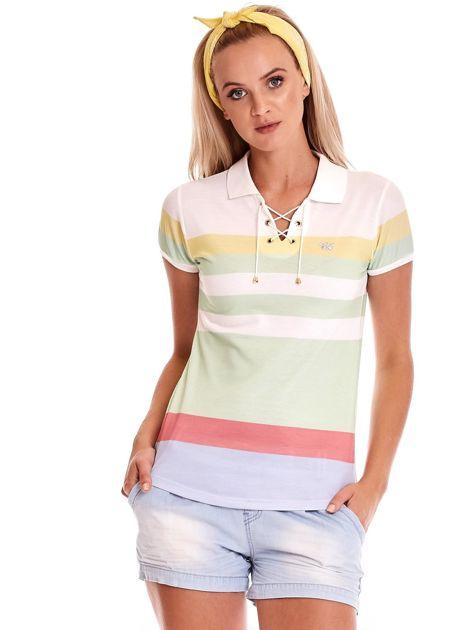 Biało-zielona koszulka polo w paski                              zdj.                              2