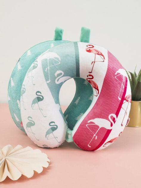Biało-zielona podróżna poduszka pod głowę                              zdj.                              6