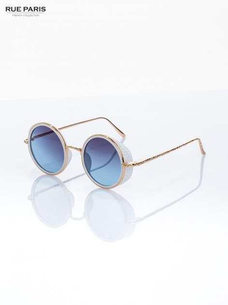 """Biało-złote okulary przeciwsłoneczne """"LENONKI"""" w stylu RETRO                                   zdj.                                  1"""