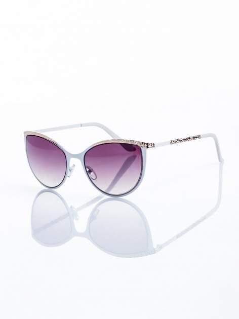 """Biało-złote okulary przeciwsłoneczne w stylu """"KOCIE OCZY""""                                  zdj.                                  1"""