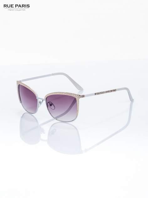 Biało-złote przepiekne damskie okulary przeciwsłoneczne KLASYKA