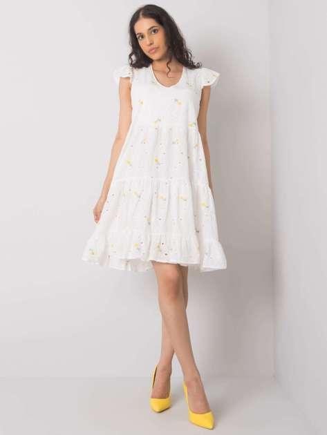 Biało-żółta sukienka na co dzień Miranda