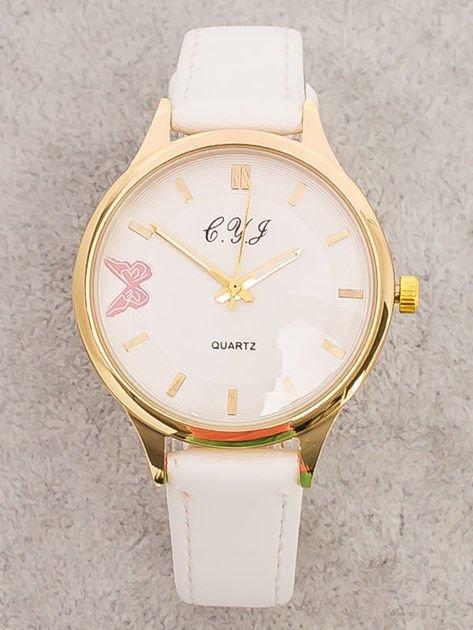 Biały Zegarek Damski z Motylem                              zdj.                              1