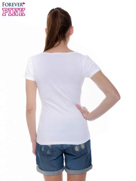 Biały basicowy t-shirt z okrągłym dekoltem                                  zdj.                                  3