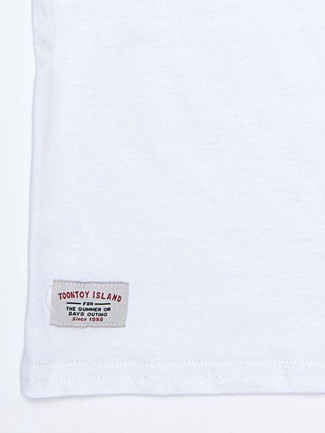 Biały bawełniany t-shirt dziecięcy z nadrukiem aparatu                              zdj.                              4