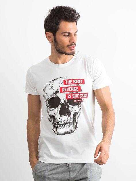 Biały bawełniany t-shirt męski z printem                              zdj.                              1