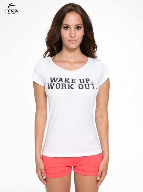 Biały bawełniany t-shirt z nadrukiem tekstowym WAKE UP WORK OUT                                  zdj.                                  1