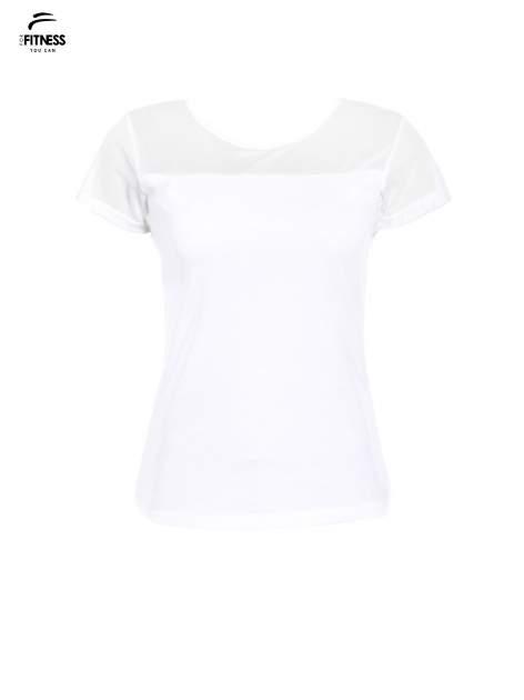Biały bawełniany t-shirt z siateczką                                  zdj.                                  2