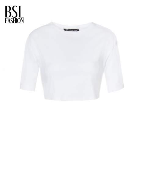 Biały crop top o luźnym kroju                                  zdj.                                  2