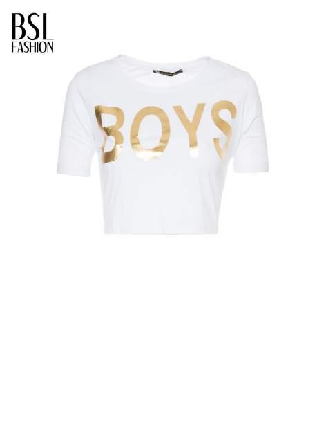 Biały cropped t-shirt ze złotym napisem BOYS                                  zdj.                                  2