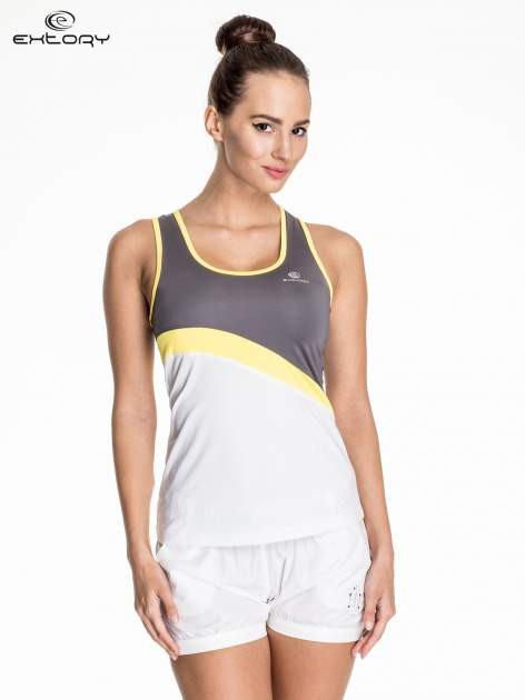 Biały damski top sportowy z szaro-żółtym modułem