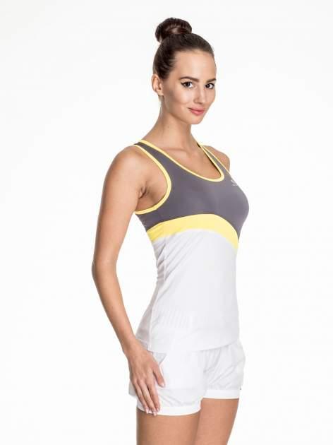 Biały damski top sportowy z szaro-żółtym modułem                                  zdj.                                  3