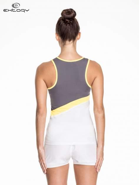 Biały damski top sportowy z szaro-żółtym modułem                                  zdj.                                  4