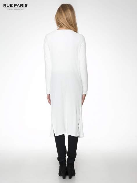 Biały długi prążkowany sweter kardigan                                  zdj.                                  4