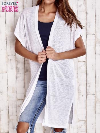 Biały długi sweter z krótkim rękawem                                  zdj.                                  1