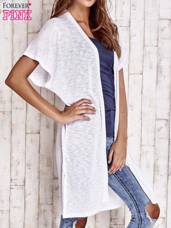 Biały długi sweter z krótkim rękawem                                  zdj.                                  3
