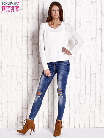 Biały dziergany sweter                                  zdj.                                  2