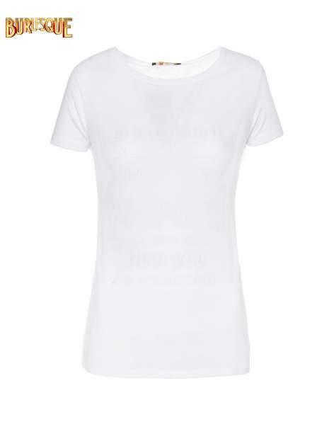 Biały gładki t-shirt z okrągłym dekoltem                                  zdj.                                  7