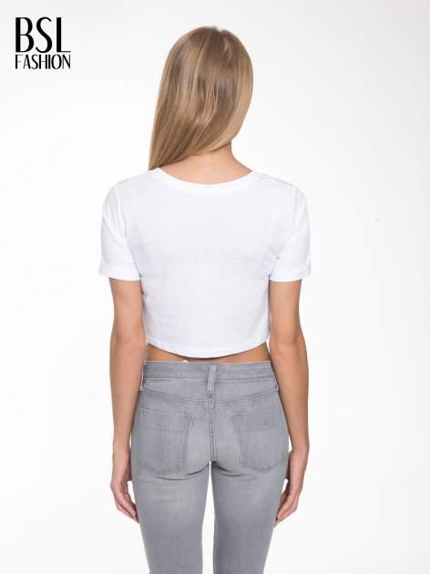 Biały krótki t-shirt przed pępek z napisem BOY LONDON                                  zdj.                                  4