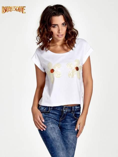Biały krótki t-shirt z kwiatkami z cekinów