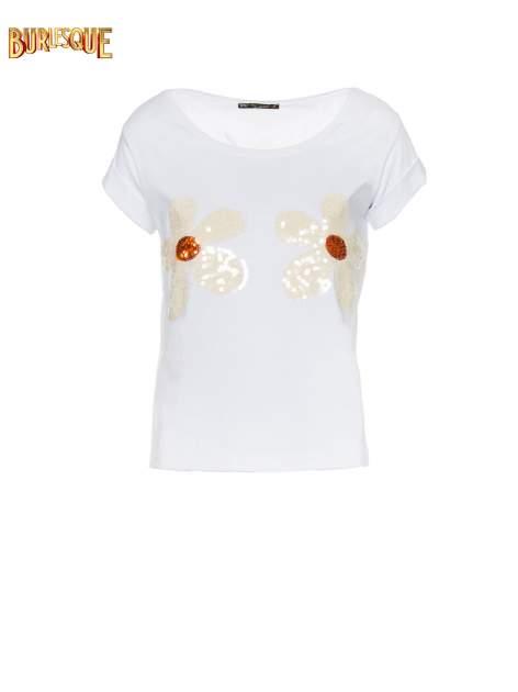 Biały krótki t-shirt z kwiatkami z cekinów                                  zdj.                                  8