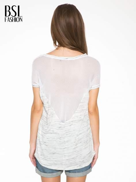 Biały melanżowy t-shirt z transparentną górą                                  zdj.                                  4