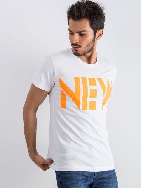 Biały męski t-shirt Public                              zdj.                              1