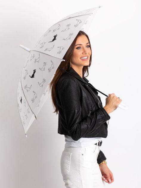Biały półautomatyczny parasol z nadrukiem                              zdj.                              1