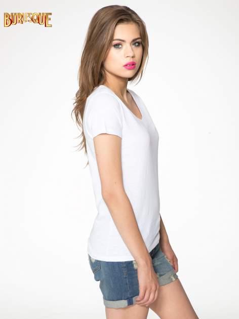 Biały półtransparentny t-shirt basic                                  zdj.                                  3