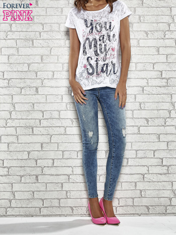 Biały półtransparentny t-shirt z napisem YOU ARE MY STAR                                  zdj.                                  2
